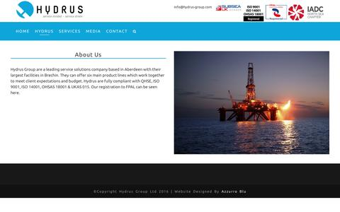 Screenshot of About Page hydrus-group.com - About Us – Hydrus - captured May 24, 2017