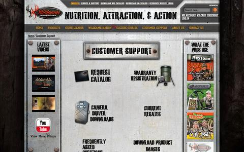 Screenshot of Support Page wildgameinnovations.com - Customer Support - captured Sept. 24, 2014