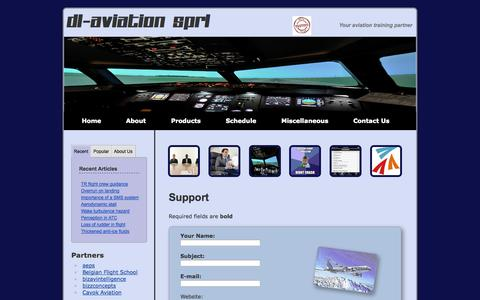 Screenshot of Support Page dl-aviation.com - App support contact form - captured Sept. 30, 2014