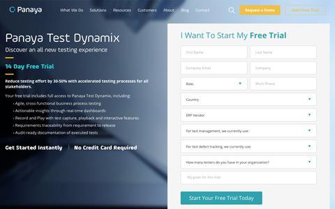 Screenshot of Trial Page panaya.com - Panaya Test Dynamix Free Trial - captured Oct. 2, 2019