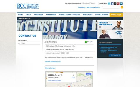 Screenshot of Contact Page rccit.ca - Contact Us - RCC Institute Of Technology - captured Nov. 2, 2014
