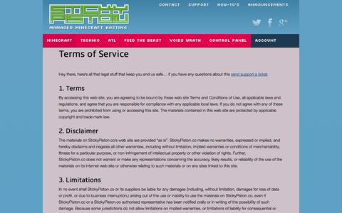 Screenshot of Terms Page stickypiston.co - Terms of Service - StickyPiston Hosting - captured Oct. 7, 2014