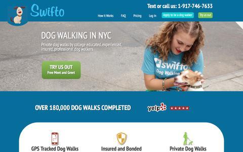 Screenshot of Home Page swifto.com - Swifto | NYC Dog Walking with GPS Tracking | - captured July 13, 2018