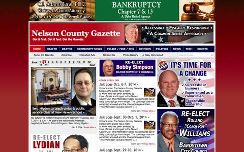 Screenshot of Home Page nelsoncountygazette.com - Nelson County Gazette | Get it first. Get it fast. Get the Gazette. - captured Oct. 8, 2014