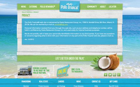 Screenshot of Privacy Page pollotropical.com - Privacy - Pollo Tropical - captured Sept. 25, 2014