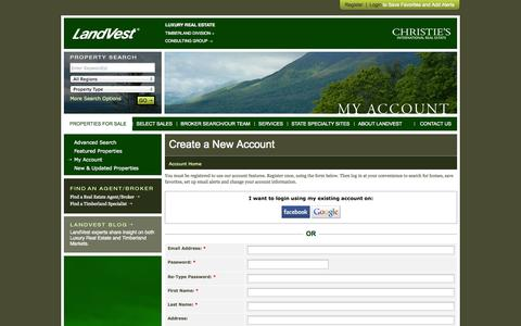 Screenshot of Signup Page landvest.com - New England Luxury Real Estate, Timber, Consulting Services, Investment Properties - captured Sept. 30, 2014