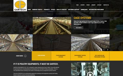 Screenshot of Home Page gartech.co.in - Poultry Equipments Manufacturer, Cage Systems, Egg Handling, Feeding, Manure Handling Systems India - Gartech - captured Sept. 22, 2014