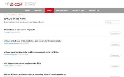 Screenshot of Press Page jd.com - JD.com, Inc. - captured Oct. 19, 2018