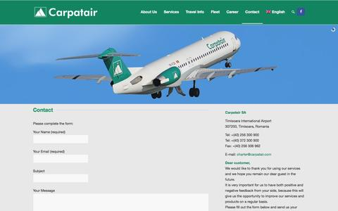 Screenshot of Contact Page carpatair.com - Carpatair | ACMI, Full CHarters, Ad-Hoc Charters |   Contact - captured Dec. 7, 2015