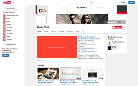 Screenshot of YouTube Page youtube.com - DesignWall  - YouTube - captured Oct. 29, 2014