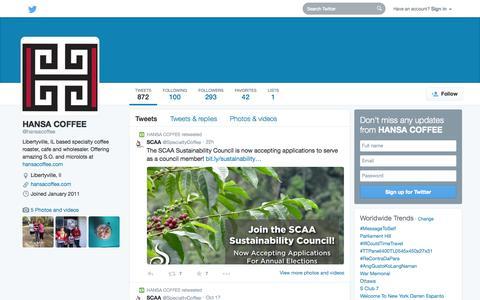 Screenshot of Twitter Page twitter.com - HANSA COFFEE  (@hansacoffee) | Twitter - captured Oct. 22, 2014