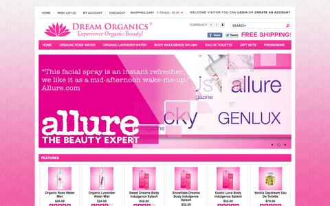 Screenshot of Home Page dreamorganics.com - Dream Organics | Where To Find Rose Water | Essential Oil Perfume - captured Sept. 30, 2014