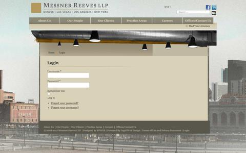Screenshot of Login Page messner.com - Login - Messner Reeves LLP  | Denver | Las Vegas | Los Angeles | New York - captured Oct. 18, 2017