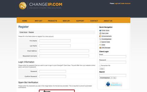 Screenshot of Signup Page changeip.com - ChangeIP - Register - captured Sept. 22, 2014