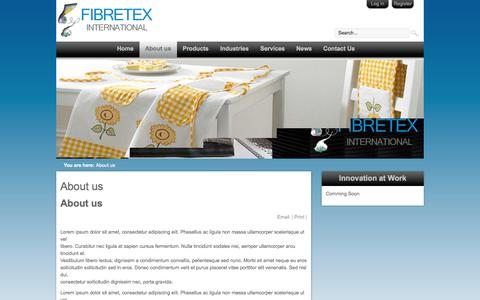 Screenshot of About Page fibretex.net - Fibretex International - About us - captured Oct. 5, 2014