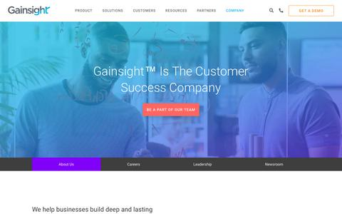 Screenshot of About Page gainsight.com - Company   Customer Success Software   Gainsight - captured Oct. 30, 2018
