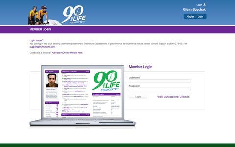 Screenshot of Login Page my90forlife.com - Back Office Login - captured Oct. 22, 2014