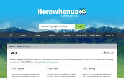 Screenshot of FAQ Page horowhenua.govt.nz - FAQs  - Horowhenua District Council - captured Sept. 29, 2018