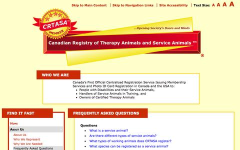 Screenshot of FAQ Page crtasa.com - Frequently Asked Questions | CRTASA - captured Oct. 1, 2014