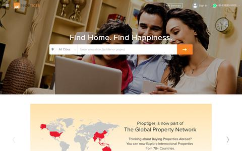 Screenshot of Home Page proptiger.com - Property in India - Buy Properties in India, Real Estate Website for India Property - Call Us - +91 92788 92788 - captured June 20, 2017