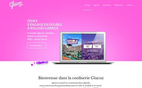 Screenshot of Home Page glucoz.fr - Agence conseil en communication digitale Glucoz | Bienvenue dans la confiserie Glucoz ! - captured Sept. 29, 2018