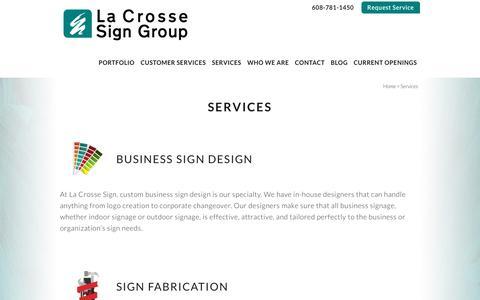 Screenshot of Services Page lacrossesign.com - Services - La Crosse Sign Group - captured Nov. 9, 2018
