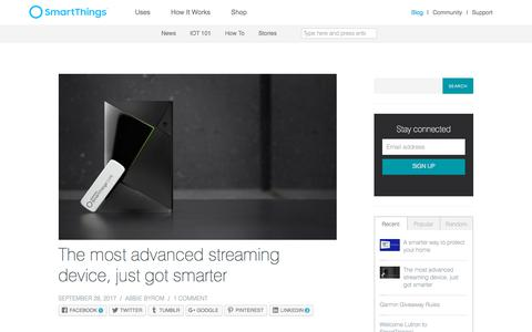 Screenshot of Blog smartthings.com - The most advanced streaming device, just got smarter |  SmartThings - captured Oct. 8, 2017