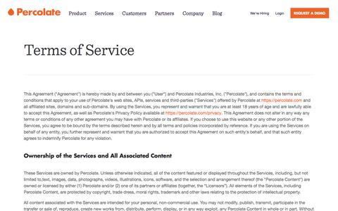 Screenshot of Terms Page percolate.com - Terms of Service | Percolate - captured June 29, 2016