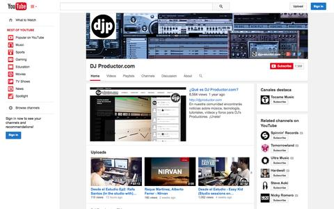 Screenshot of YouTube Page youtube.com - DJ Productor.com  - YouTube - captured Oct. 23, 2014