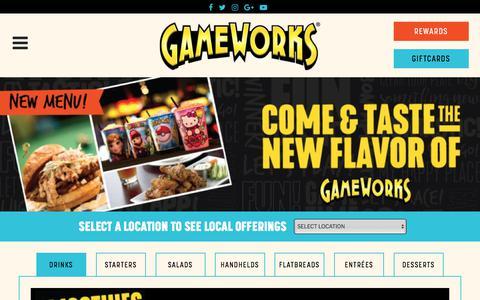 Screenshot of Menu Page gameworks.com - Food and Drink - GameWorks | Gameworks - captured July 16, 2018