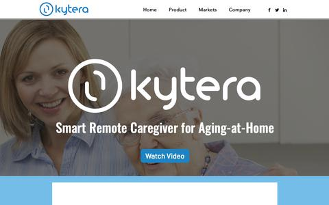 Screenshot of Home Page kytera.care - Home | KYTERA - captured Oct. 16, 2018