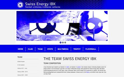 Screenshot of Team Page swissenergy-ibk.ch - Swiss Energy IBK - Floorball Unihockey Innebandy Salibandy - captured June 7, 2016