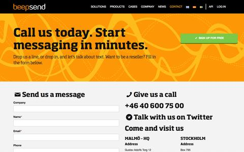Screenshot of Contact Page beepsend.com - Contact   Beepsend - captured Sept. 19, 2014