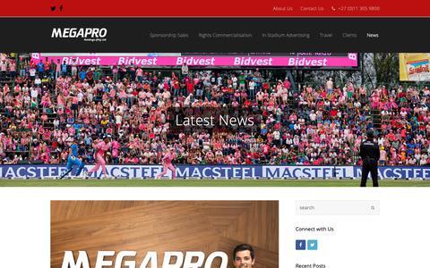 Screenshot of Press Page megapro.co.za - Latest News | Megapro Holdings | South Africa's Leading Sports Marketing Agency - captured Nov. 15, 2018