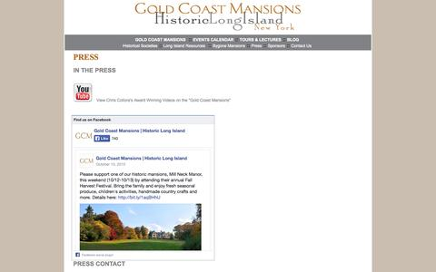 Screenshot of Press Page historiclongisland.com - Gold Coast Mansions - Historic Long Island - Press - captured Oct. 2, 2014