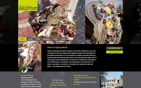 Screenshot of Home Page Menu Page valentijnsneek.nl - Valentijn Sneek - captured Oct. 5, 2014