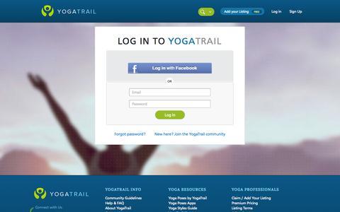Screenshot of Login Page yogatrail.com - Log in | YogaTrail - captured Oct. 27, 2014