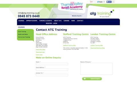 Screenshot of Contact Page atg-training.co.uk - Contact ATG Training - captured Sept. 30, 2014