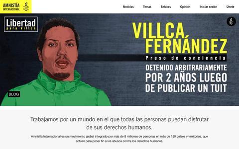 Screenshot of Home Page amnistia.org - | Amnistía Internacional | Venezuela - captured Feb. 10, 2018