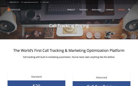 Screenshot of Pricing Page convirza.com - Call Tracking Pricing - Convirza - captured Feb. 1, 2017