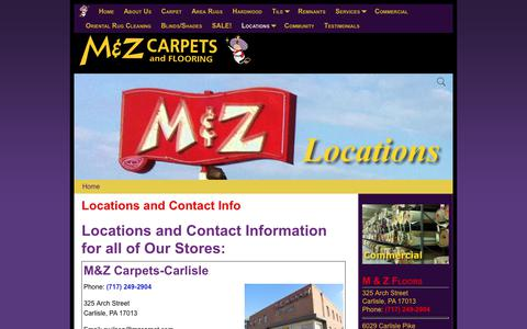 Screenshot of Locations Page mzcarpet.com - Locations and Contact Info – M & Z Carpets and Flooring - captured Sept. 27, 2017