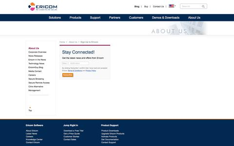 Screenshot of Signup Page ericom.com - Ericom sign up � Email address only - captured May 13, 2018