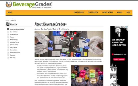 Screenshot of About Page beveragegrades.com - About BeverageGrades | BeverageGrades - captured Oct. 4, 2014