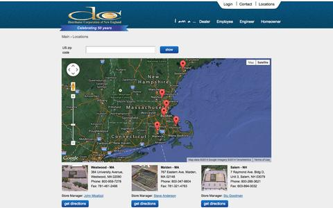 Screenshot of Locations Page dcne.com - DCNE Equipment and Totaline Parts Store Locations - captured Oct. 5, 2014