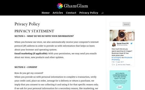 Screenshot of Privacy Page birminghamglam.com - Privacy Policy - captured Oct. 6, 2018