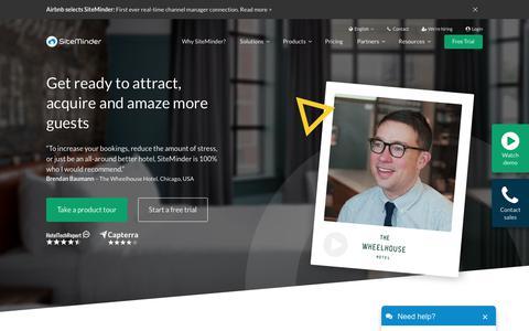Screenshot of Home Page siteminder.com - SiteMinder - The complete guest acquisition platform for hotels - captured Aug. 16, 2019
