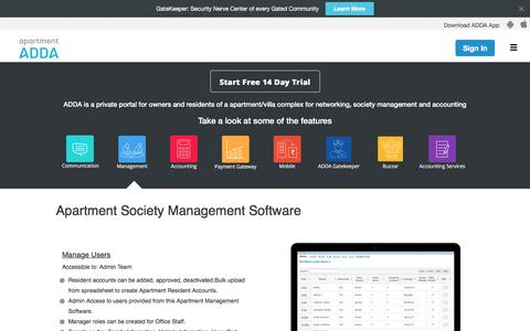 Screenshot of Team Page apartmentadda.com - Apartment Management Software & Society Management System - captured Oct. 19, 2017