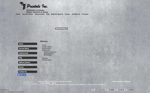 Screenshot of Site Map Page prestale.ca - Prestale Inc. - Distributors of Granite, Marble, Travertino & Quartz - captured Nov. 11, 2016