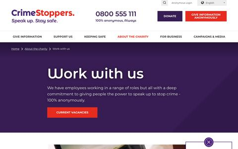 Screenshot of Jobs Page crimestoppers-uk.org - Work with us | Crimestoppers - captured Nov. 8, 2018