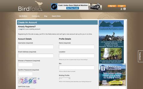 Screenshot of Signup Page birdfolio.com - Register | Birdfolio - captured Nov. 3, 2014
